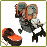 Duo kinderwagen - tweelingwagen oranje Top Design - Kinderwagens en Reissystemen