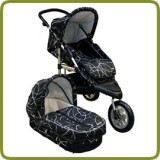 3 wheeler pram + carry cot black - Kinderwagens en Reissystemen